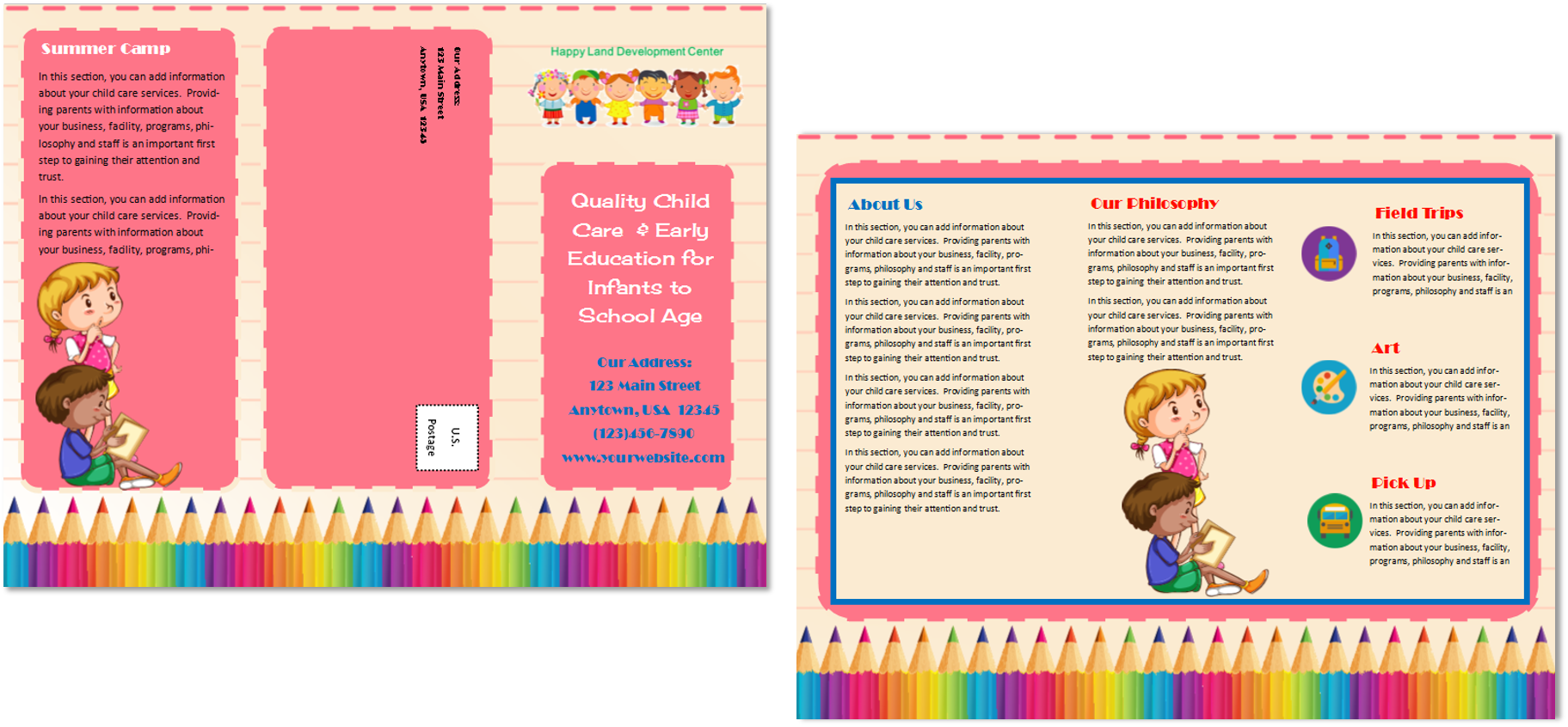 Child care brochure template 11 child care owner for Daycare brochure template