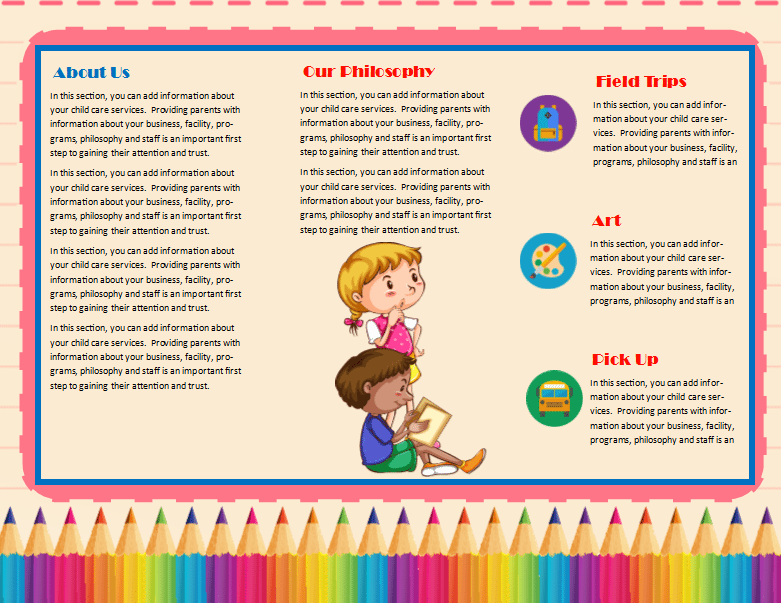 Child Care Brochure Template 11 - Child Care Owner