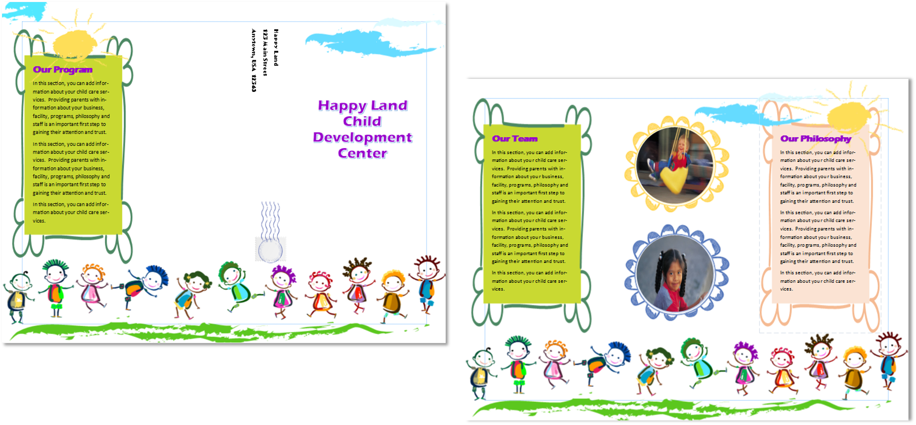 Child care brochure template 12 child care owner for Child care brochure templates