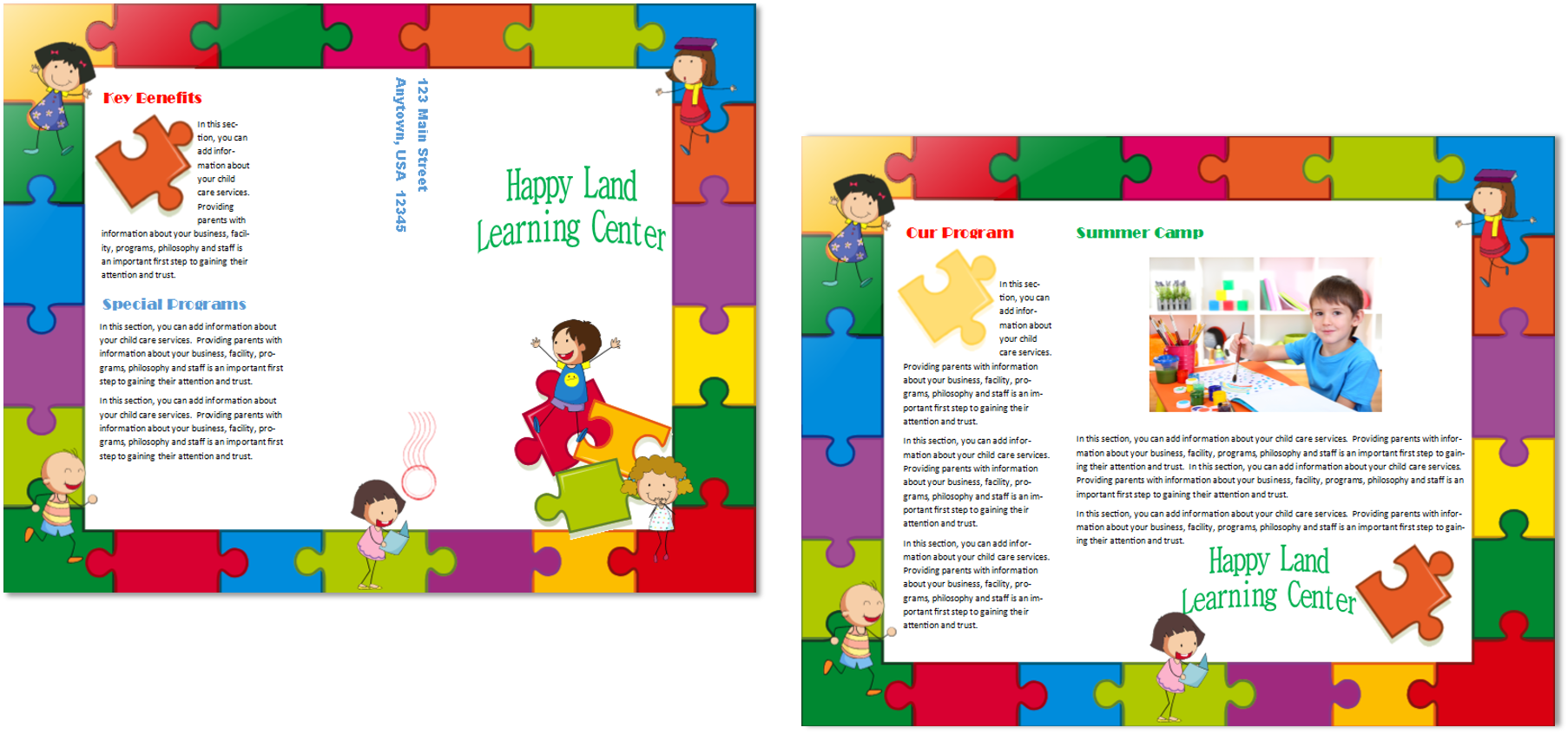 Child care brochure template 14 child care owner for Preschool brochure template