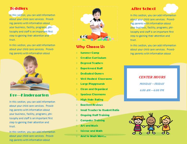 child care brochure templates free - child care brochure template 15 child care owner