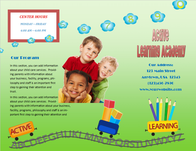 Child Care Brochure Template 16 - Child Care Owner