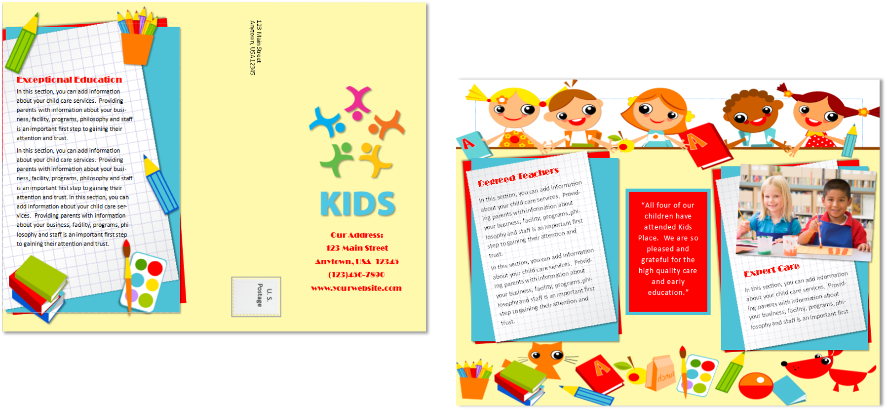 Child care brochure template 20 child care owner for Preschool brochure template