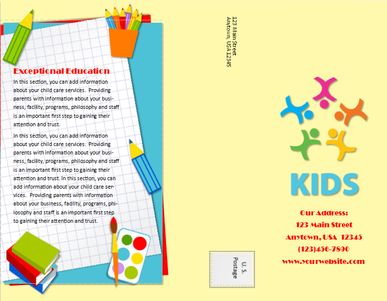 Child care brochure template 20 child care owner for Daycare brochure template