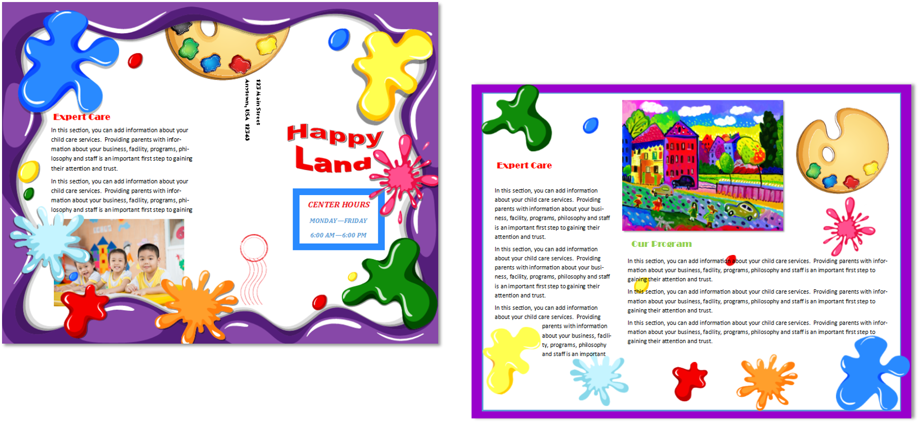 Child care brochure template 21 child care owner for Preschool brochure template