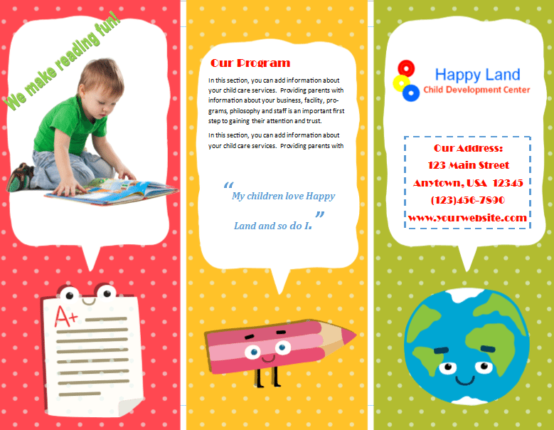 Child care brochure template 22 child care owner for Daycare brochure template