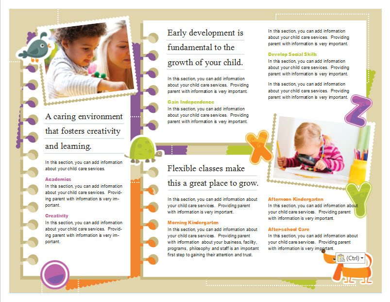 Child care brochure template 5 child care owner for Preschool brochure template
