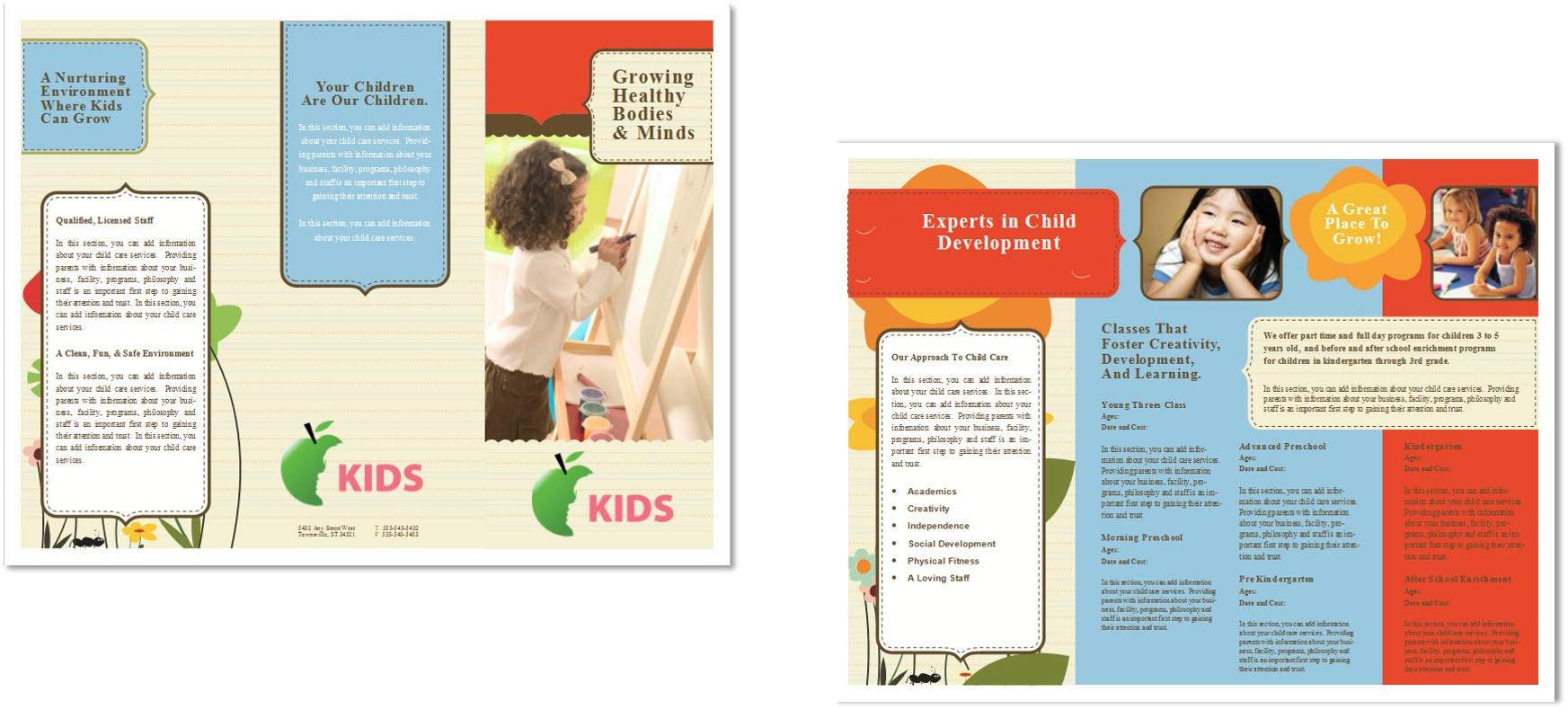 Child care brochure template 6 child care owner for Child care brochure template free