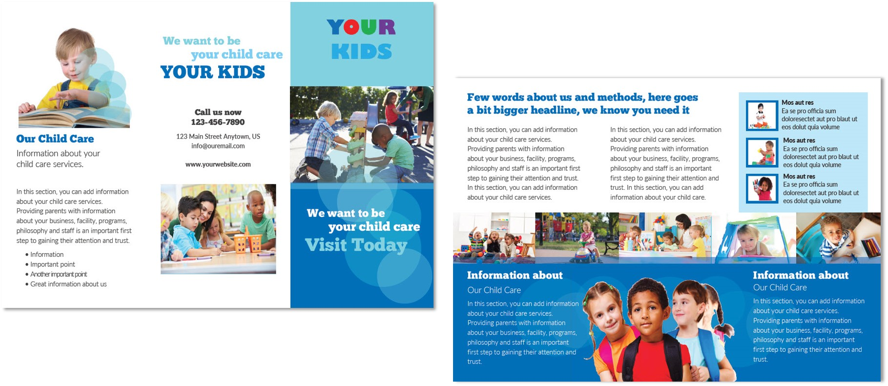 Child care brochure template 4 child care owner for Preschool brochure template