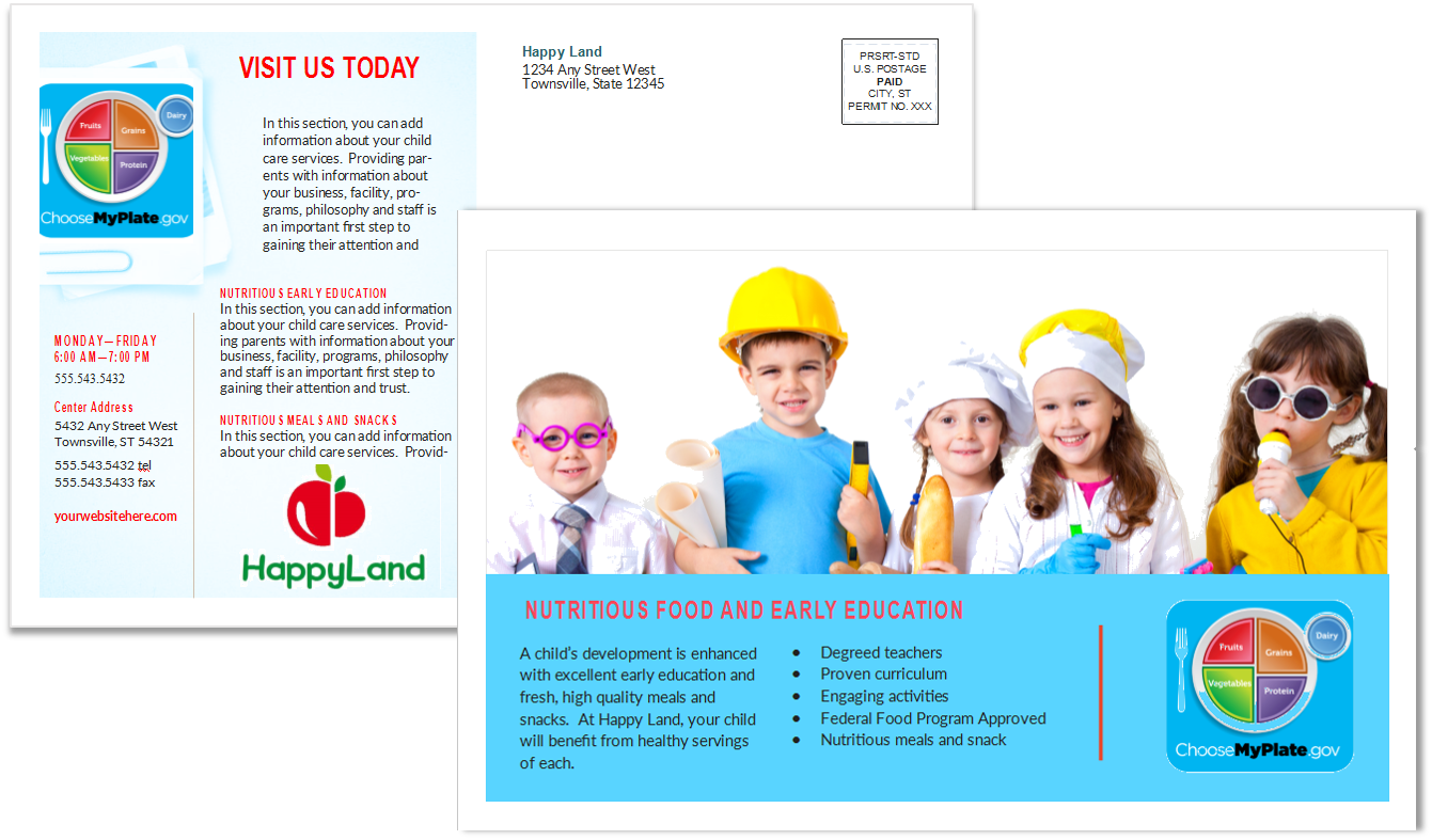 child care postcard template 3 sample 2 child care owner