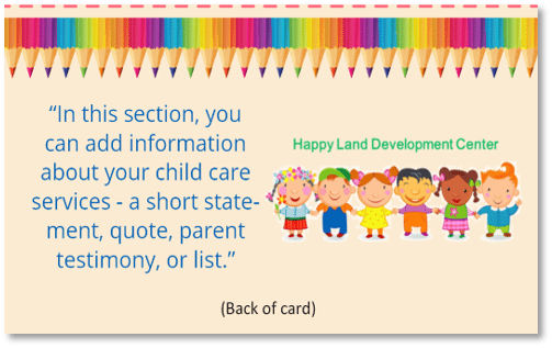 Child Care Business Cards - Template 11 - Child Care Owner