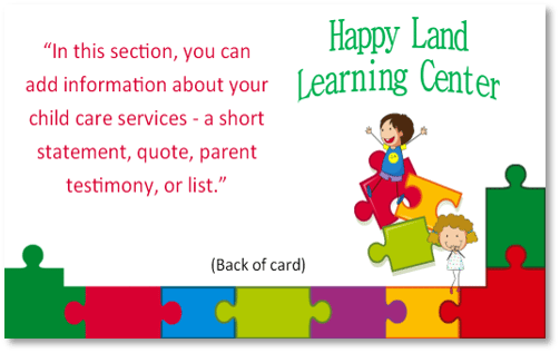 Child Care Business Cards - Template 14 - Child Care Owner