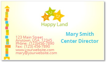 Child Care Business Cards - Child Care Owner
