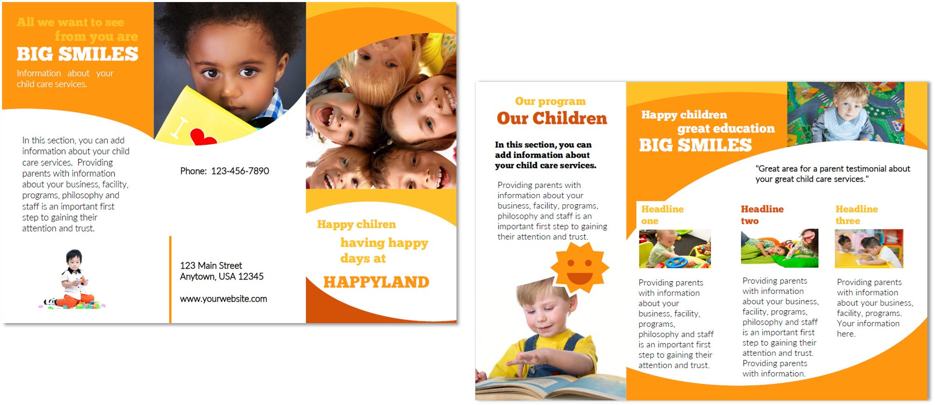 Child care brochure template 3 child care owner for Child care brochure template free