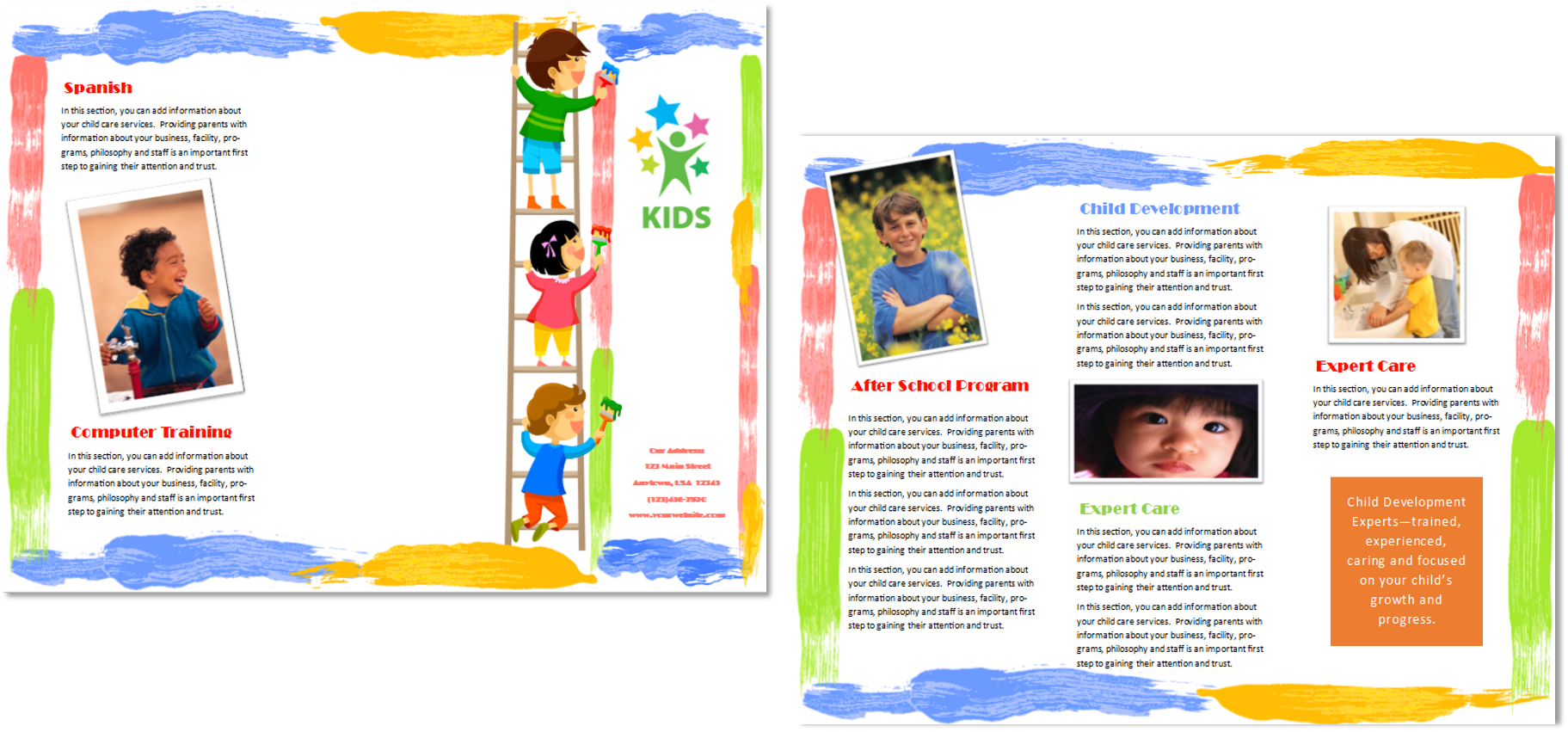Child care brochure template 10 child care owner for Marketing handouts