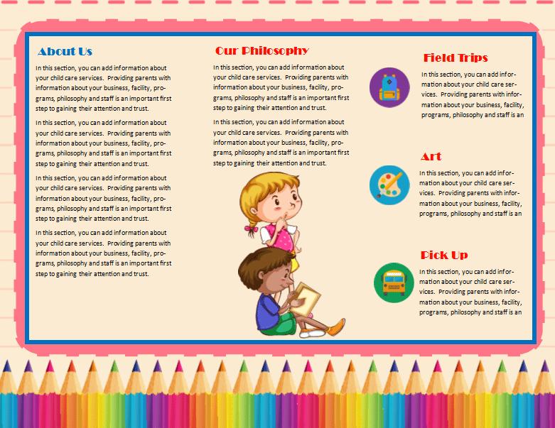 child care brochure template - child care brochure template 11 child care owner