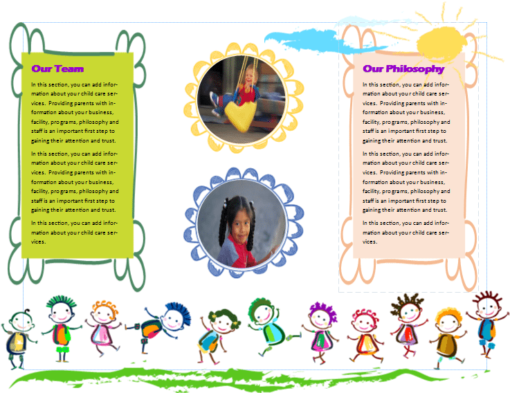 Child care brochure template 12 child care owner for Child care brochure template free