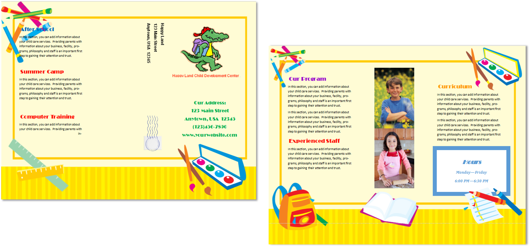 Child care brochure template 13 child care owner for Preschool brochure template