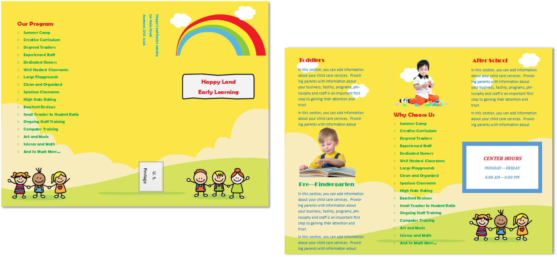 Child care brochure template 15 child care owner for Daycare brochure template
