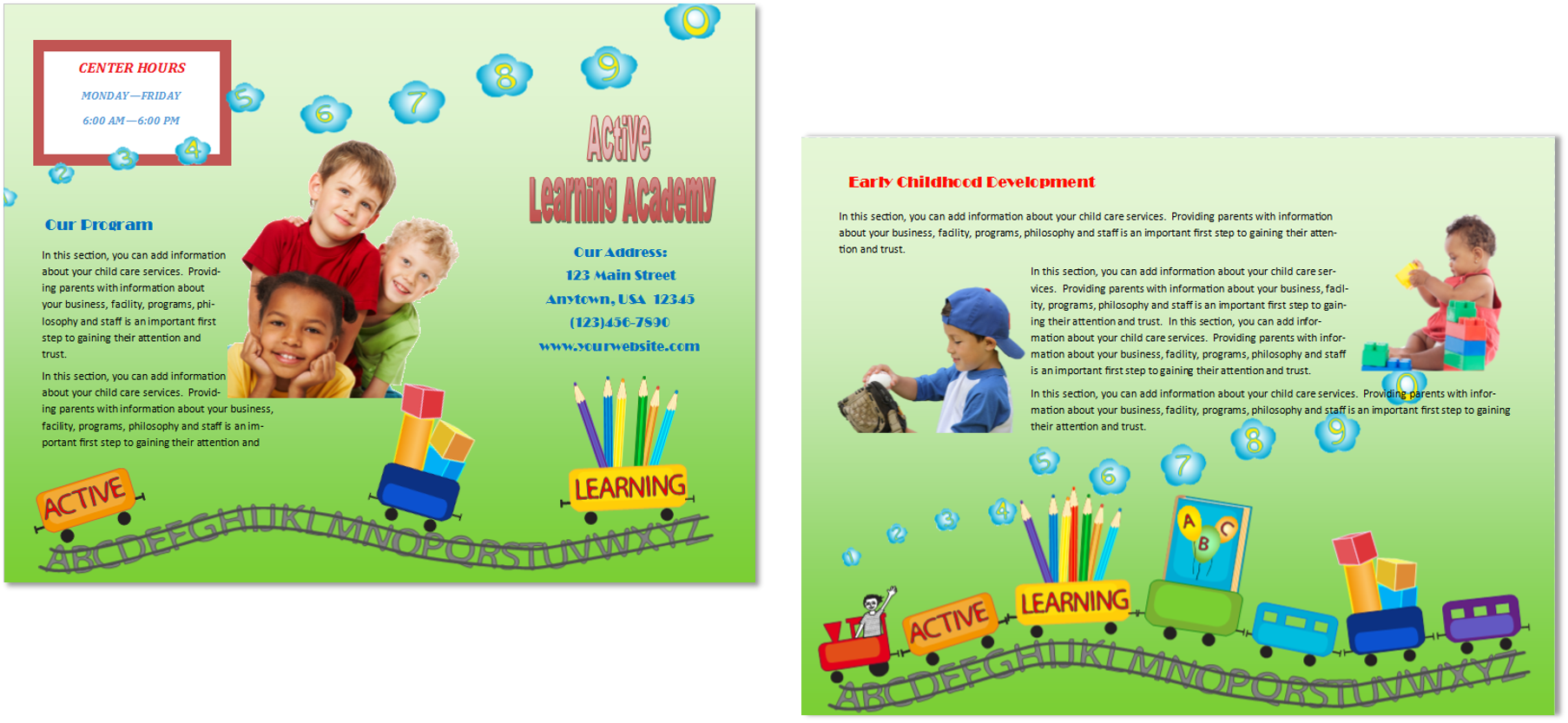 child care business cards child care folders child care marketing preschool marketing
