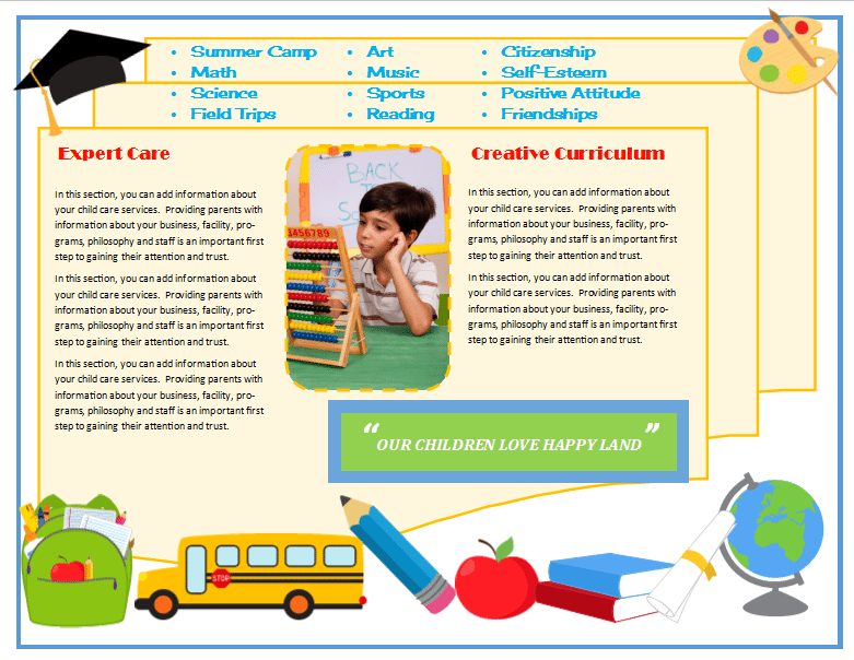 Child Care Brochure Template 17 - Child Care Owner