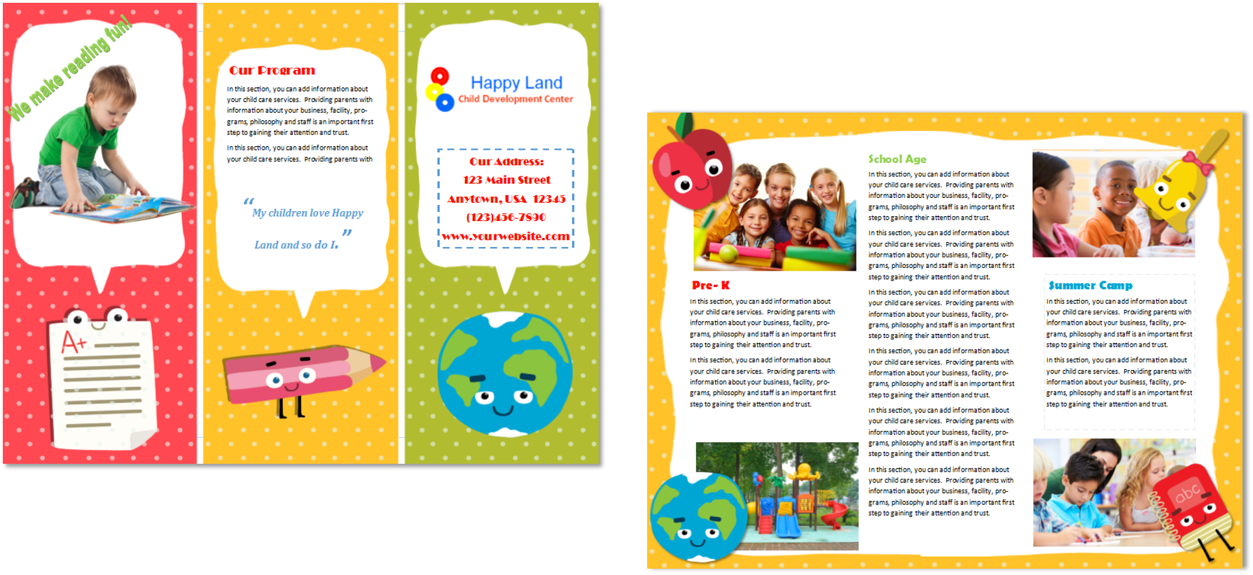 Child care brochure template 22 child care owner for Free brochure templates for kids