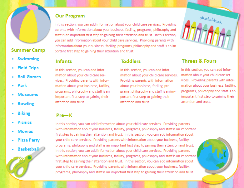 Child Care Brochure Template 23 - Child Care Owner