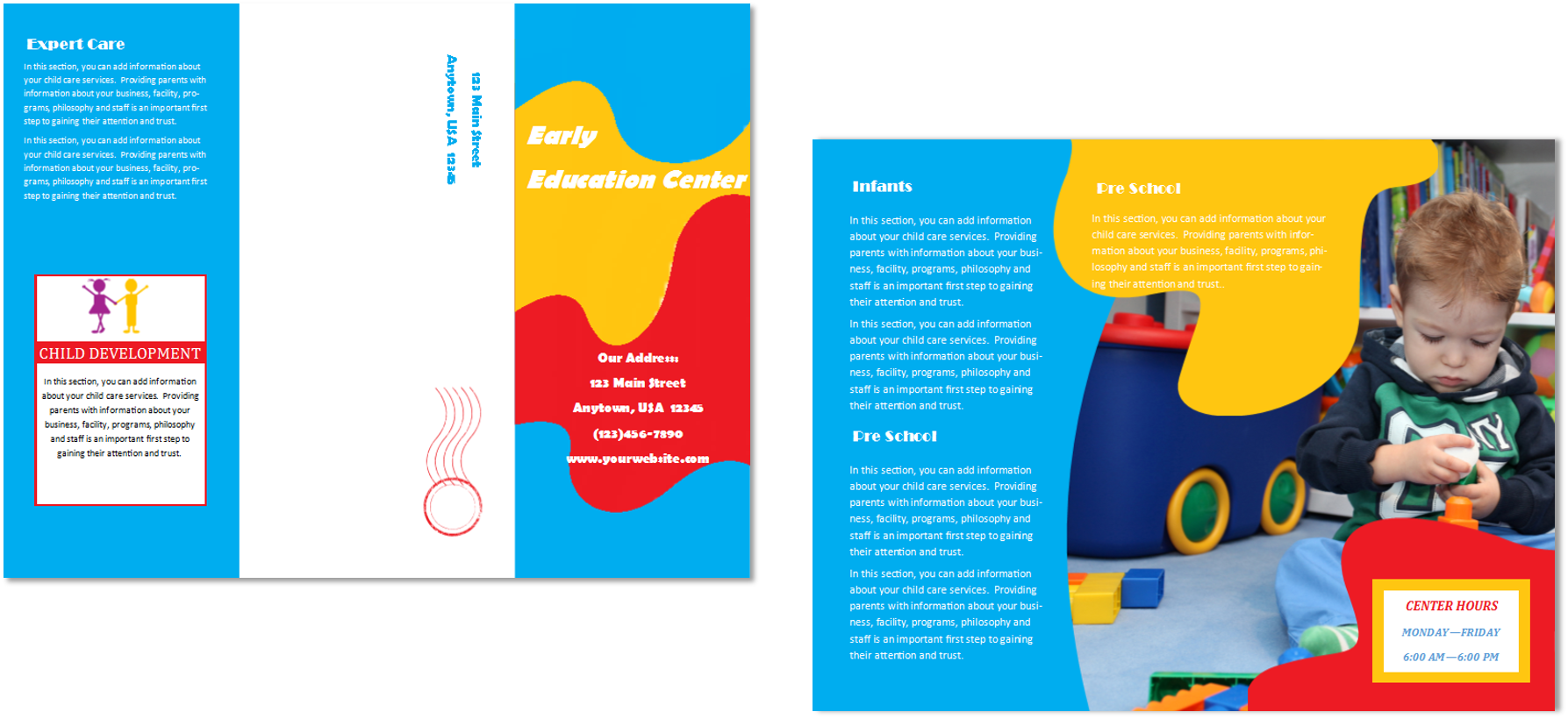 Child care brochure template 24 child care owner for Preschool brochure template