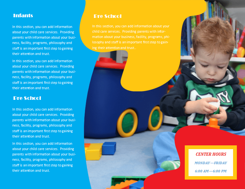 child care brochure template free - child care brochure template 24 child care owner
