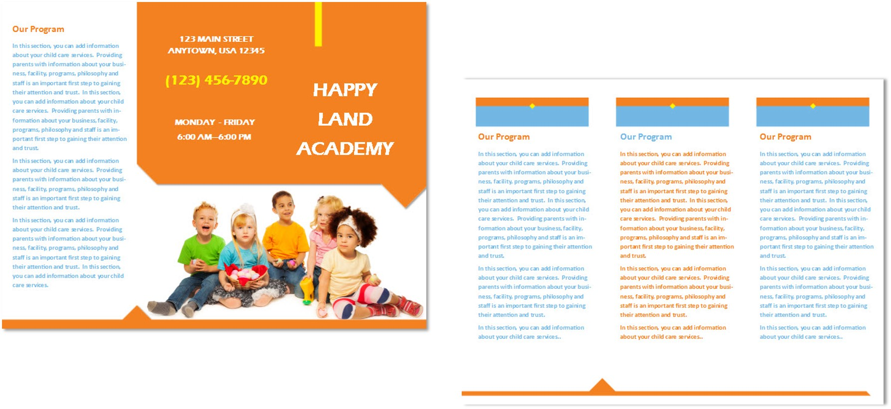 Child care brochure template 25 child care owner for Daycare brochure template