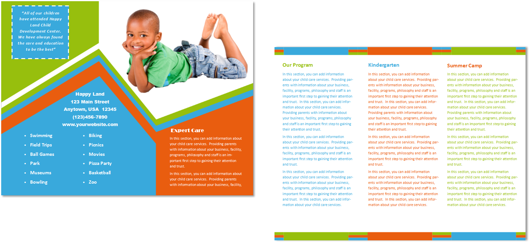 Child care brochure template 26 child care owner for Preschool brochure template