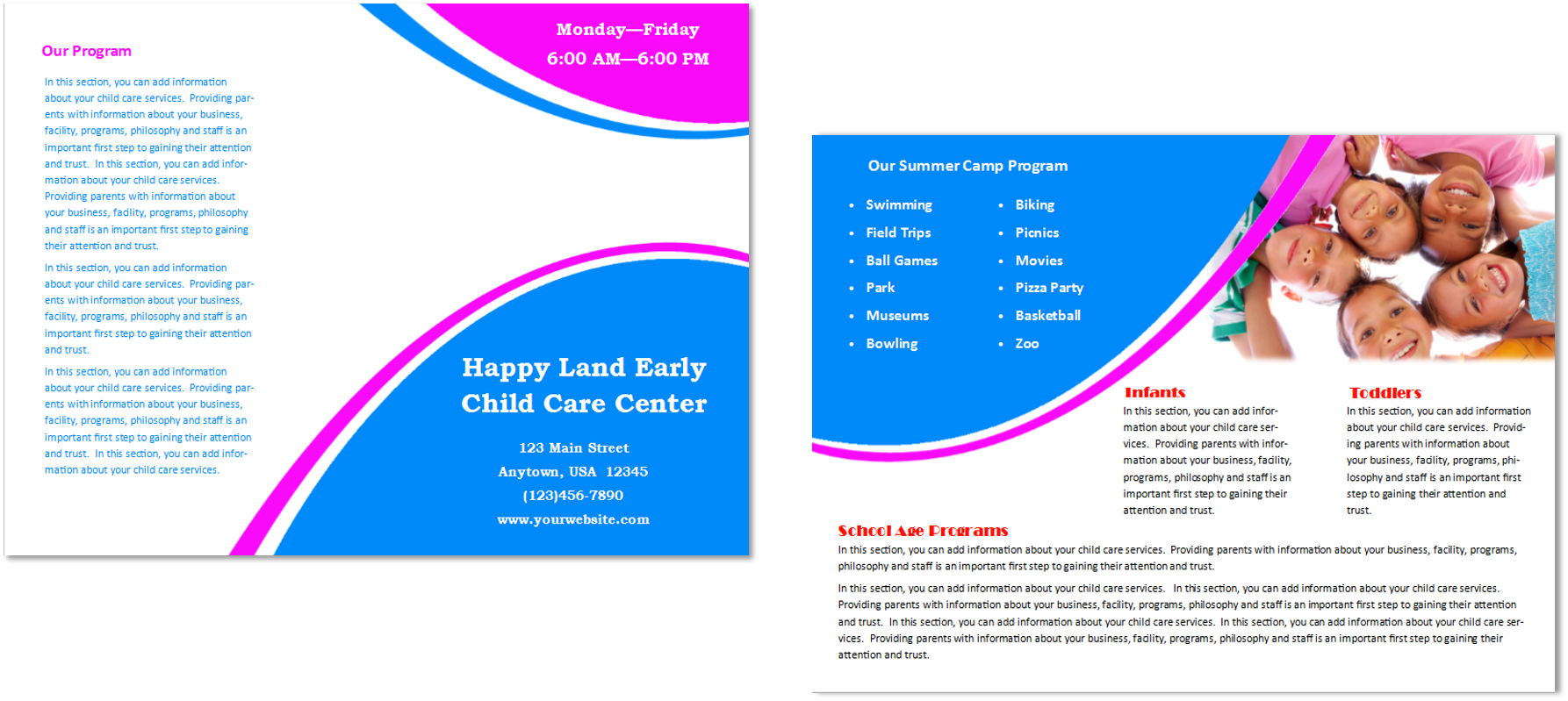 Child care brochure template 27 child care owner for Child care brochure template