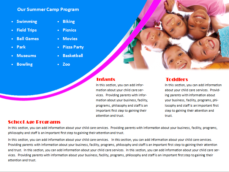Child Care Brochure Template 27 - Child Care Owner