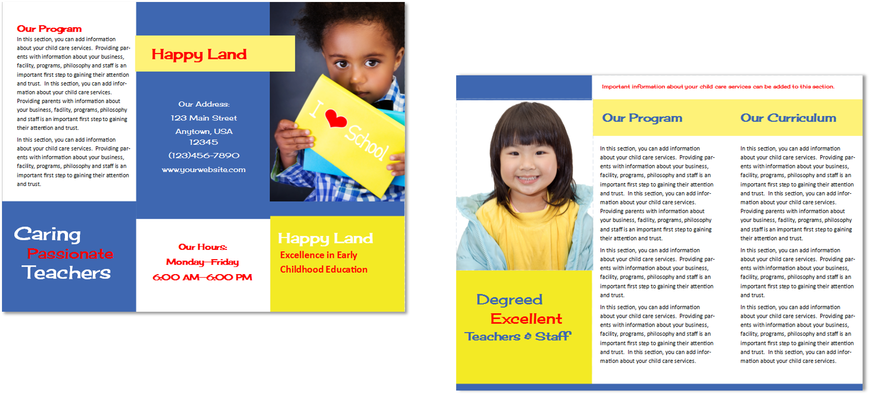 Child care brochure template 29 child care owner for Child care brochure template