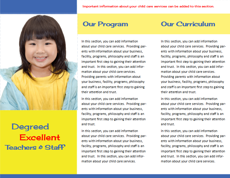Child Care Brochure Template 29 - Child Care Owner