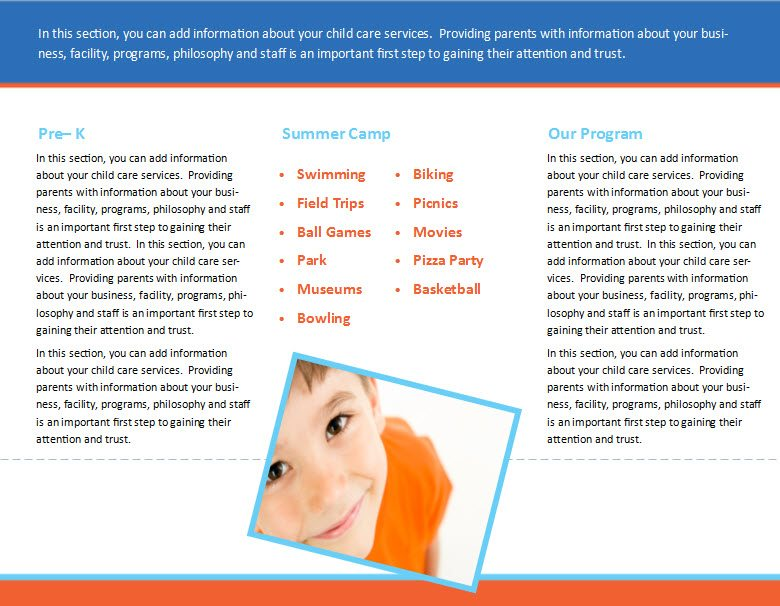 Child care brochure template 30 child care owner for Daycare brochure template