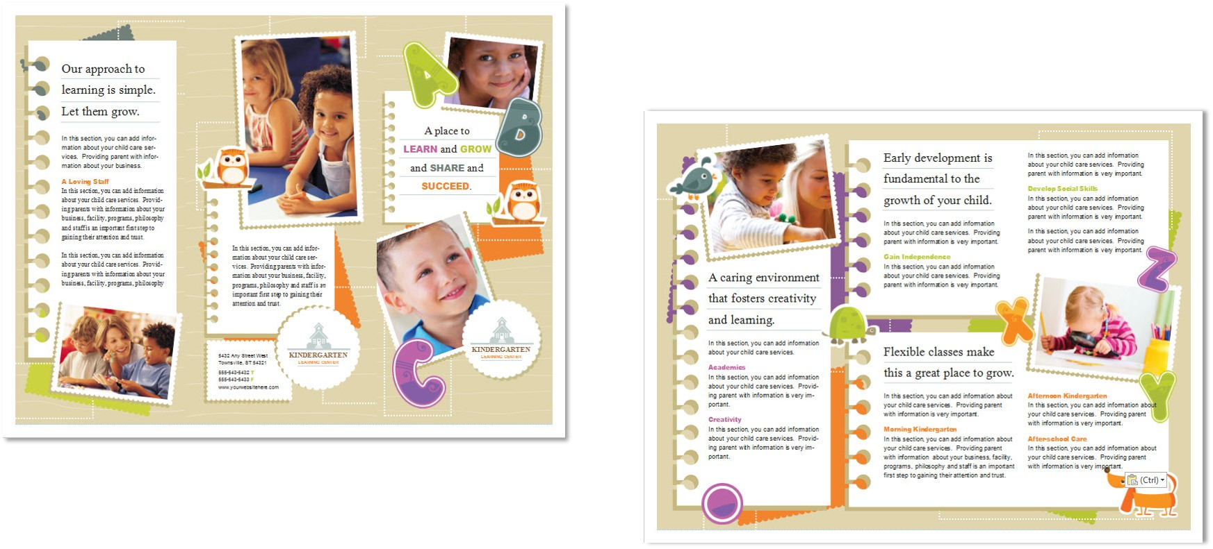 Child care brochure template 5 child care owner for Marketing handouts