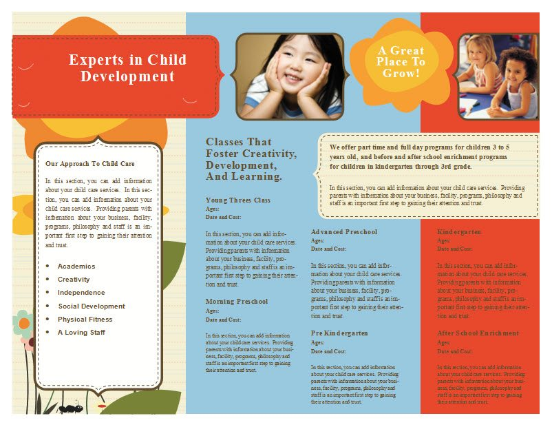 child care brochure templates free - child care brochure template 6 child care owner