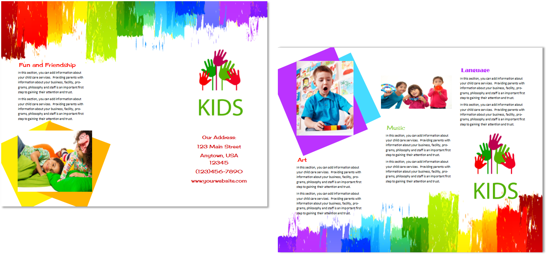 Child care brochure template 9 child care owner for Preschool brochure template