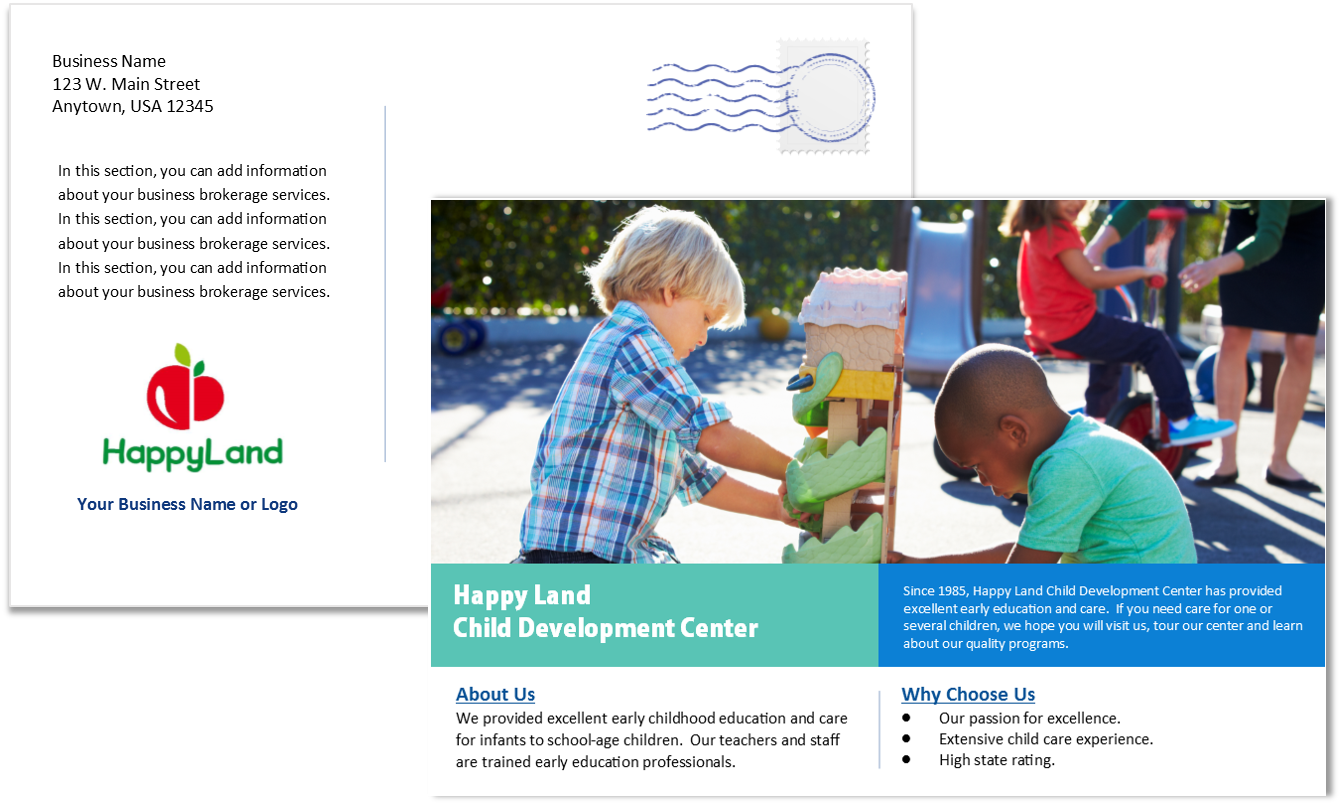 Cco Child Care Postcard Template 1 Sample 3 Front And Back