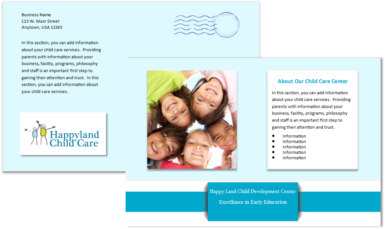 Child Care Postcard Template 5