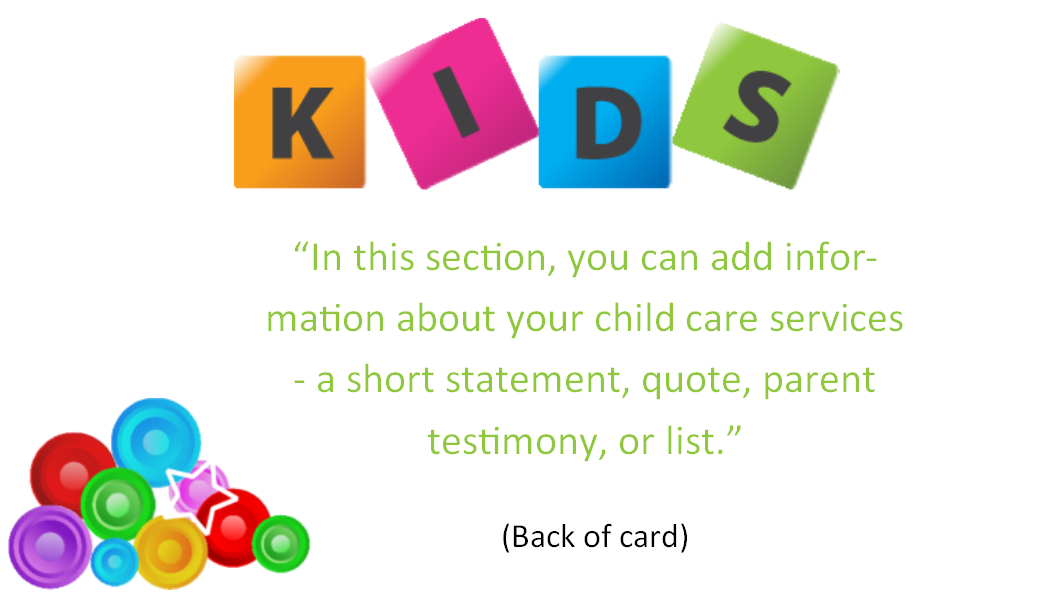Child care business cards template 7 child care owner child care business cards child care folders child care marketing preschool marketing colourmoves