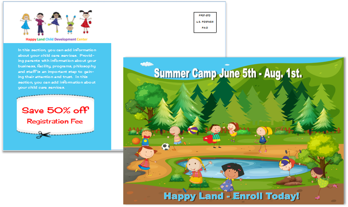 Child Care Postcard Template 10 - Sample 1