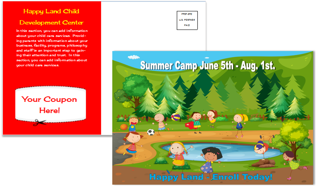 Child Care Postcard Template 11