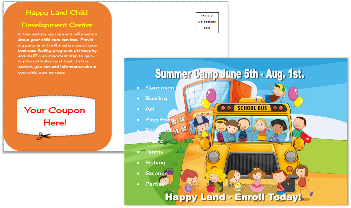 Child Care Postcard Template 12
