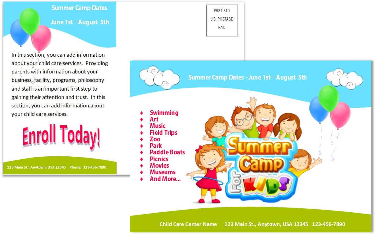 Child Care Postcard Template 7 Child Care Owner