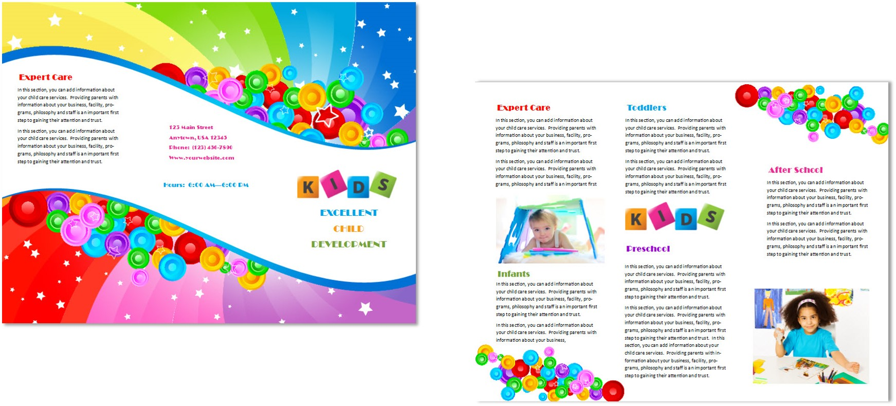 Child care brochure template 7 child care owner for Preschool brochure template