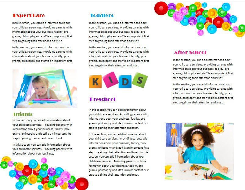 Photo care home care plans templates images care home for Child care brochure template free