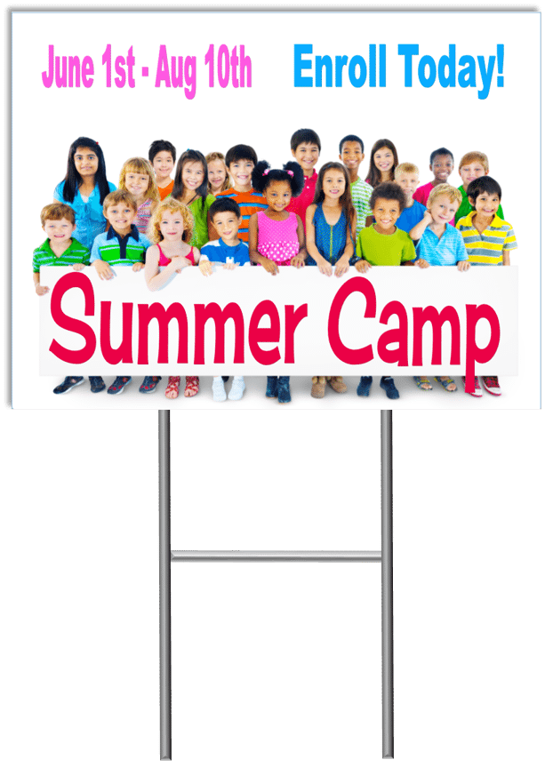 Summer camp yard sign template 4 child care marketing yard signs child care business cards child care folders child care marketing preschool marketing reheart Images