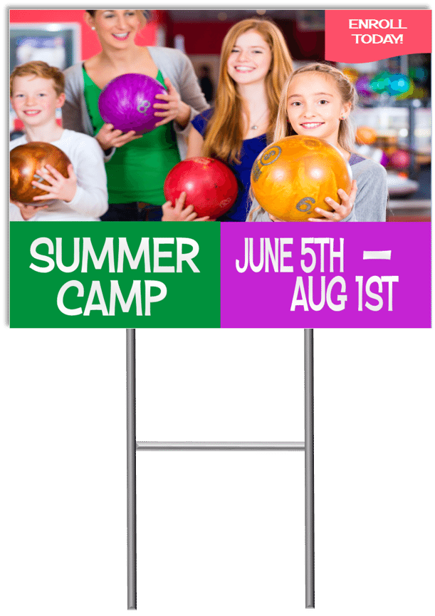 Summer Camp Yard Sign Template 6 with stand medium